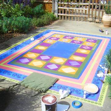 Painted Rug On Concrete Feeling Crafty Pinterest