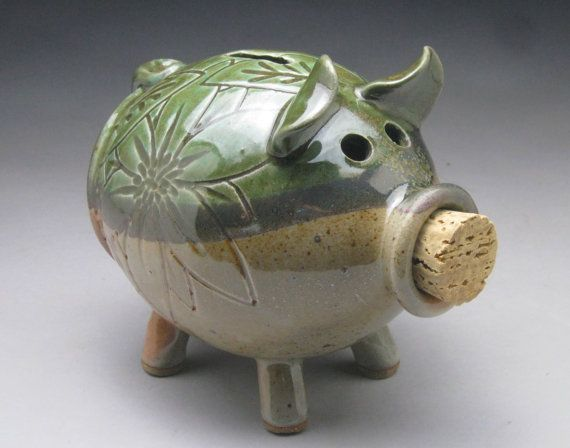 Green And Tan Ceramic Piggy Bank With Carved Leaf And
