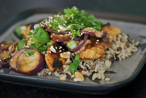 Asian Chicken and Baby Eggplant with Toasted Sesame Seeds and Cashews
