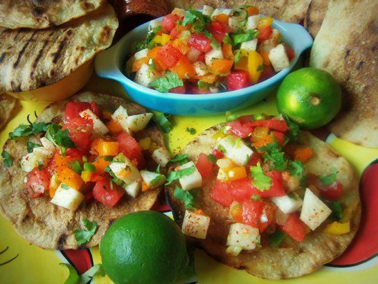 Spicy Watermelon & Jicama Salsa with Grilled Tostadas - QueRicaVida ...