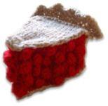 Hand knit cherry pie.  YUM!