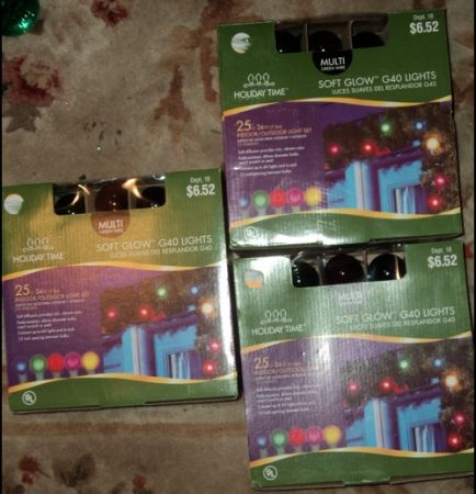 Lot of 3 New Holiday Time Soft Glow G40 Lights