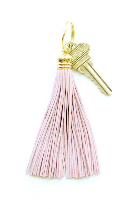 Pink+Leather+Tassel+Keychain+by+DearMushka+on+Etsy,+$17.00