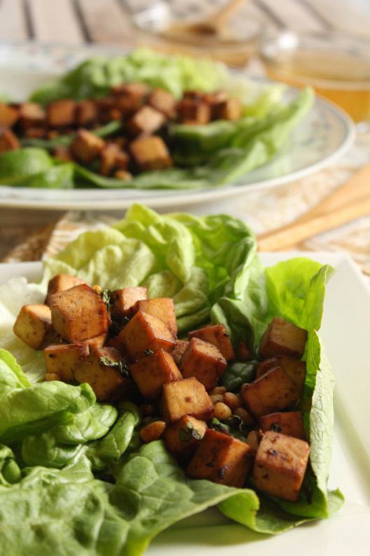 Garlic-Ginger Baked Tofu Lettuce Wraps with Vietnamese Dipping Sauces ...