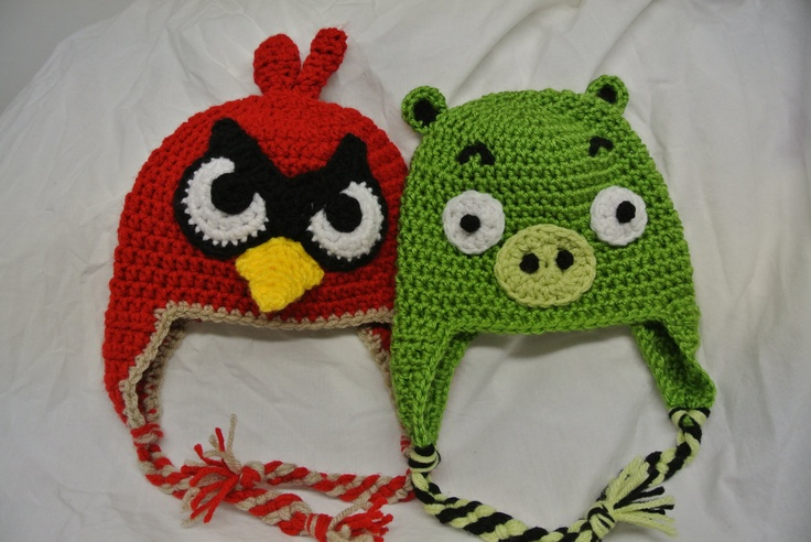 Green Angry Pig & Red Bird Hat / Beanie Combo