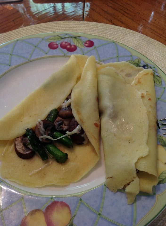 yesterday's lunch: crepes with mushrooms, asparagus, & cheese