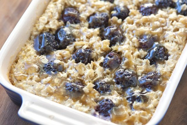 Blueberry Baked Oatmeal w/Caramel Sauce :)