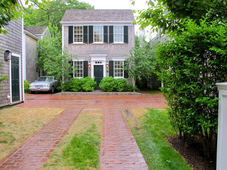 brick & grass ribbon driveway