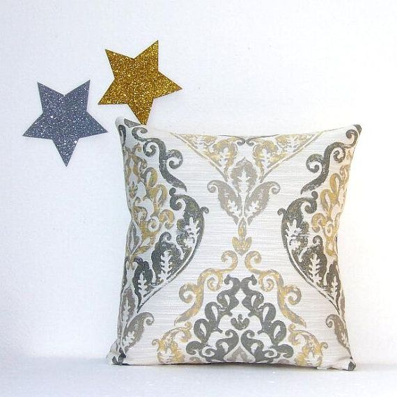 Yellow Grey Cream Decorative Pillow Cover 16