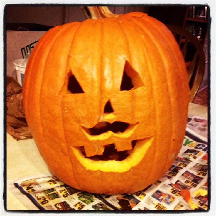 A failed attempt at a pumpkin with a mustache. Ha ha