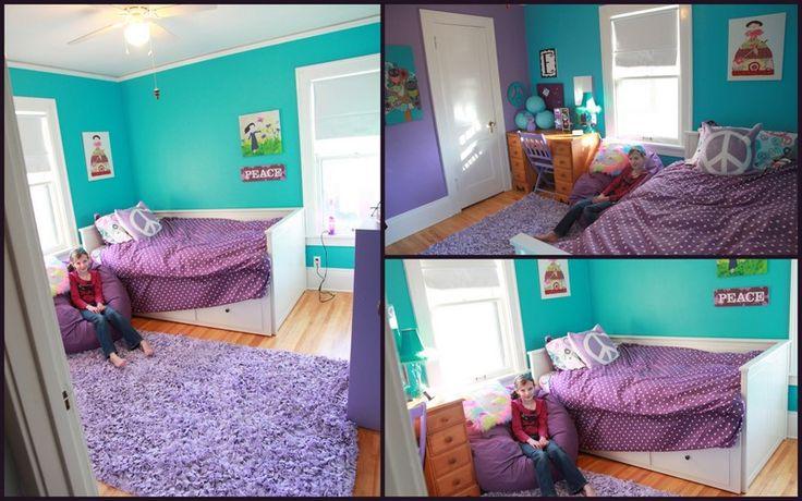 tween bedroom makeover turquoise and purple bedroom