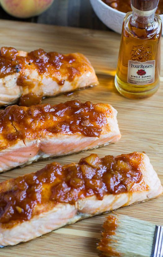 Grilled Salmon with Bourbon Peach BBQ Sauce #BourbonBBQ #bourbon