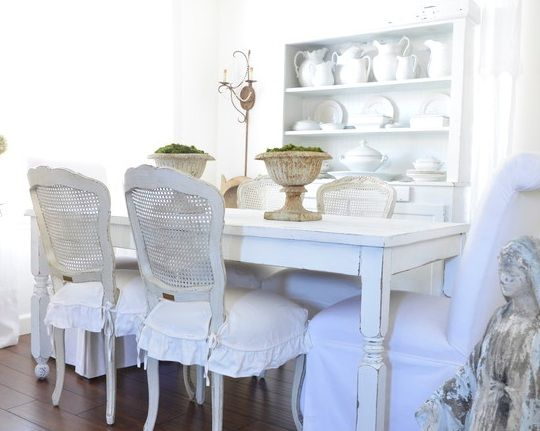 Dining room chairs with white slipcovers around the house pintere - Shabby chic dining room chair covers ...