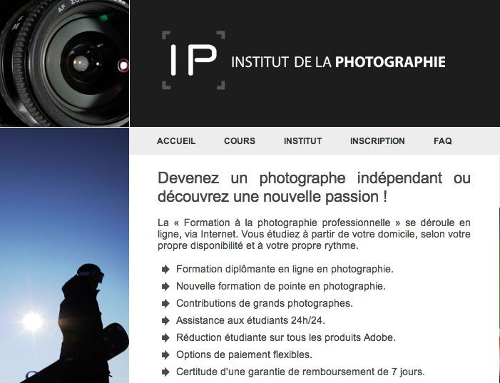 Bienvenue sur la page de l 39 institut de la photographie for La photographie