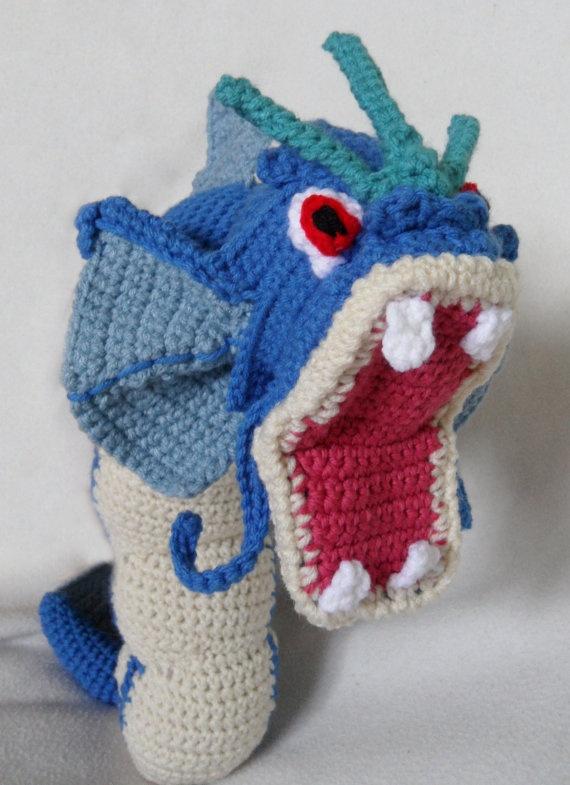 Crochet Patterns Pokemon : Crochet Gyarados Pokemon by TheQuaintCuddlefish on Etsy, $75.00