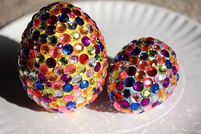 Rhinestone Easter eggs make me want to have an Easter basket again.