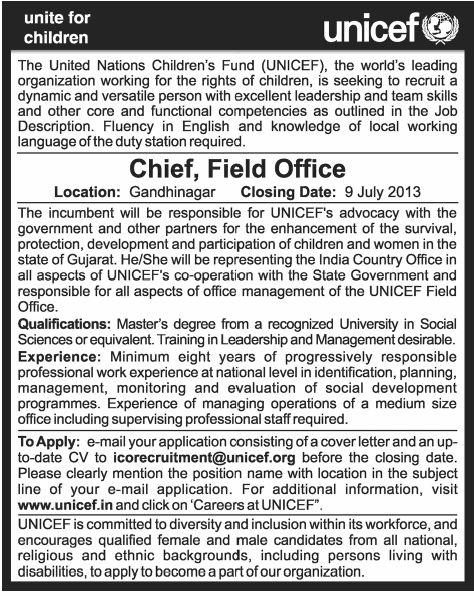 unicef job in india: