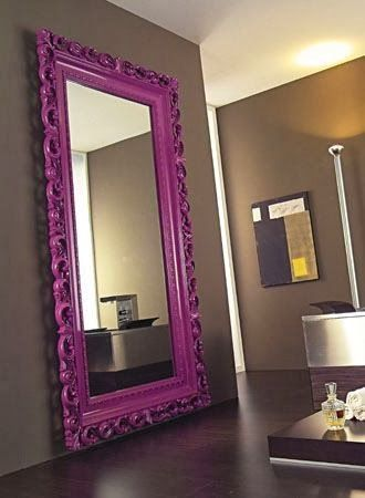 Painted oversized mirror purple for pop of color and statement