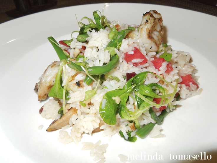 ... walnuts, green beans and grilled watermelon, pears and dates, then
