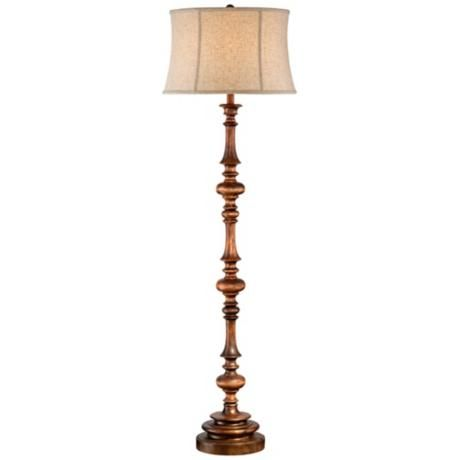 walnut turned column wood floor lamp lampsplus. Black Bedroom Furniture Sets. Home Design Ideas
