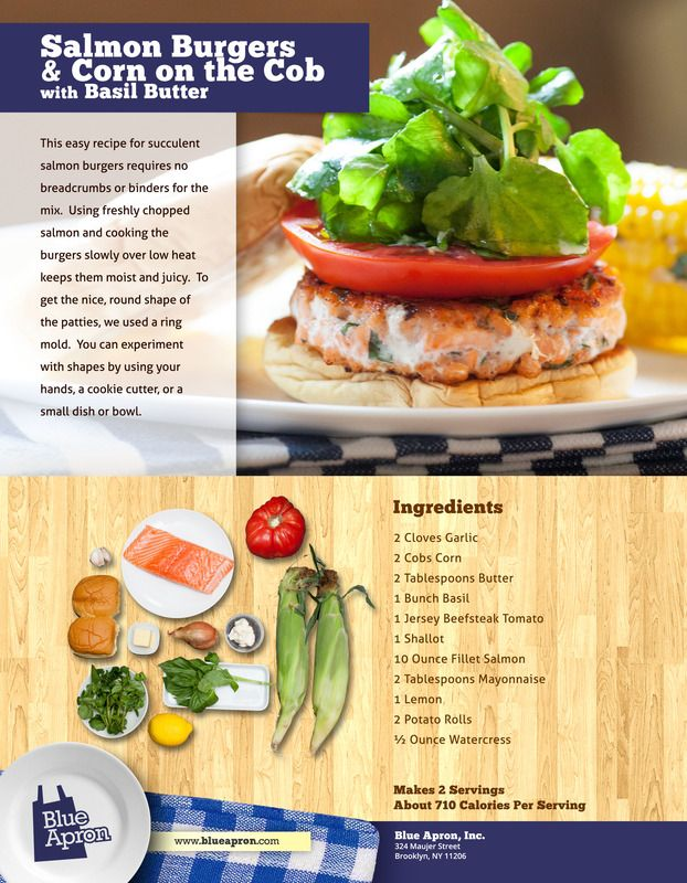 Salmon Burgers & Corn on the Cob with Basil Butter | Recipe