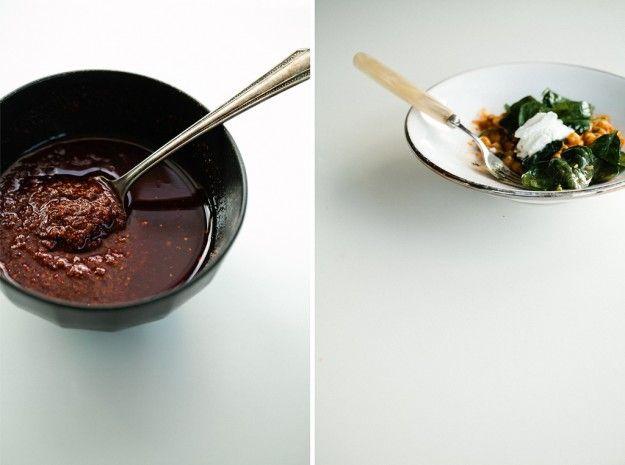 Harissa chickpeas with spinach and greek yogurt. (blog:notwithoutsalt ...