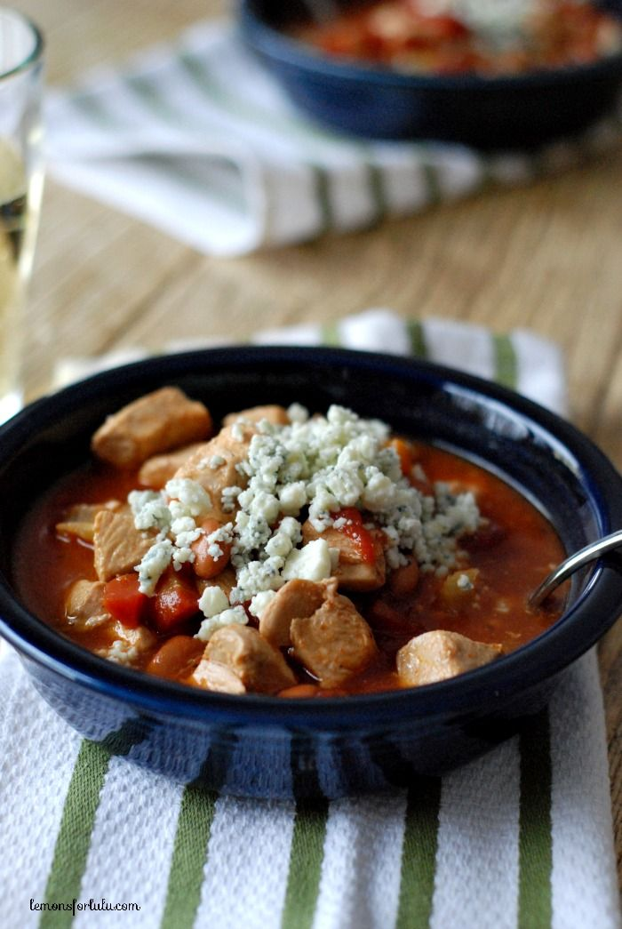 Hearty, filing and spicy Buffalo Chicken Chili slow cooker recipe