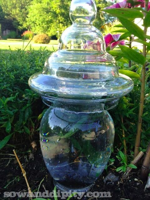 Recycled glass garden art towers - Recycled glass for gardens ...