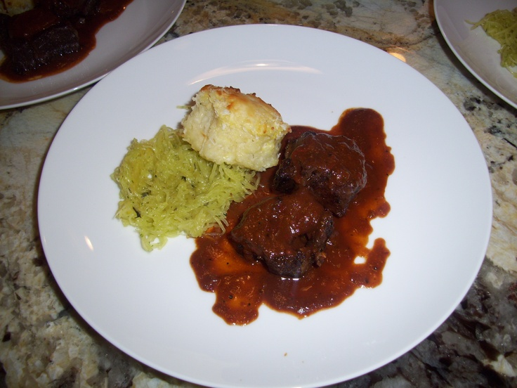Red Chili Moleserved with Herb Roasted Spaghetti Squash and Roasted ...