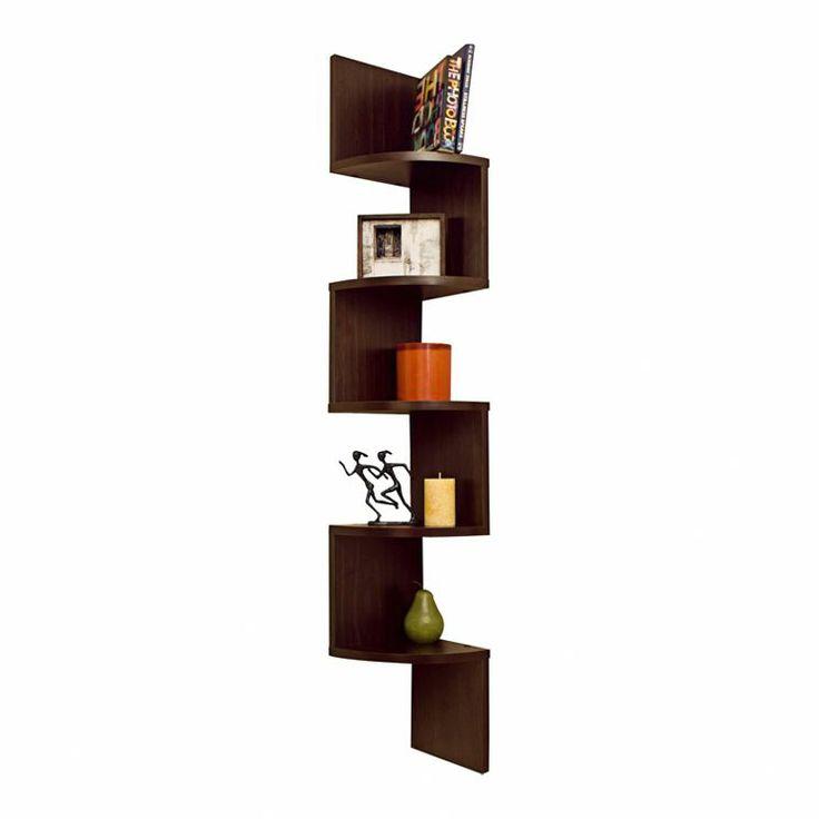 Corner Zig Zag Wall Shelf In Walnut Living Room Pinterest