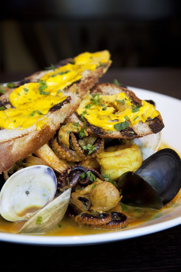 bouillabaisse with baby octopus, mussels, fingerling potatoes ...