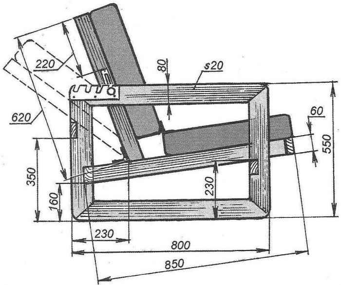 Схема-чертеж мягкого кресла своими руками 41