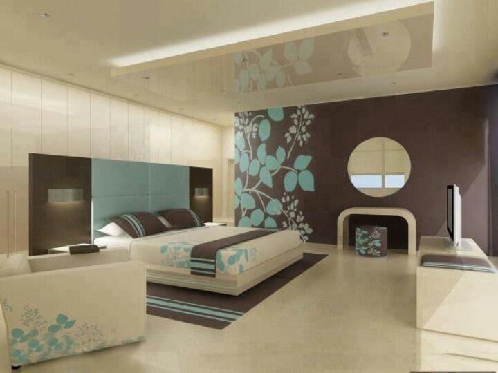 Brown and blue bedroom | Home design | Pinterest