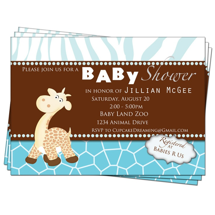 giraffe baby shower invitations printable digital party