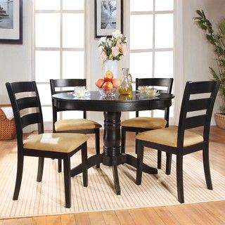 @Overstock - Dine in comfort and style with this unique five-piece Wilma dining set. This round table features a lovely aukuman finish and the chairs have a black finish with stylish peat colored upholstery.http://www.overstock.com/Home-Garden/Wilma-5-piece-Round-Black-Dining-Set-with-Ladder-Back-Chairs/6112907/product.html?CID=214117 $430.19