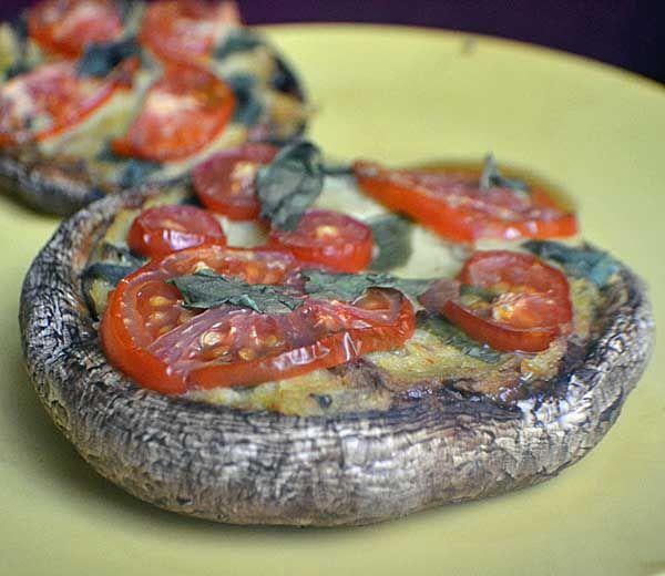 Portobello pizzas. I'd skip the vegan cheese and just use the regular ...