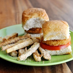 Chicken nugget sliders with a side of seasoned and baked root ...