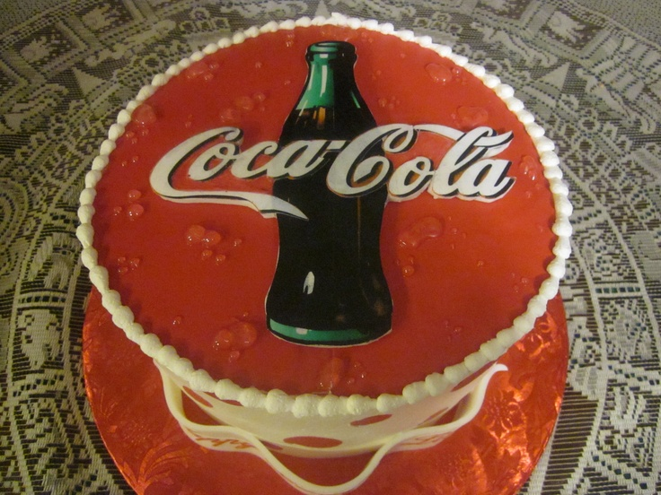 "Coca Cola cake - 8"" round, all frosted with Pastry Pride. Logo and ..."