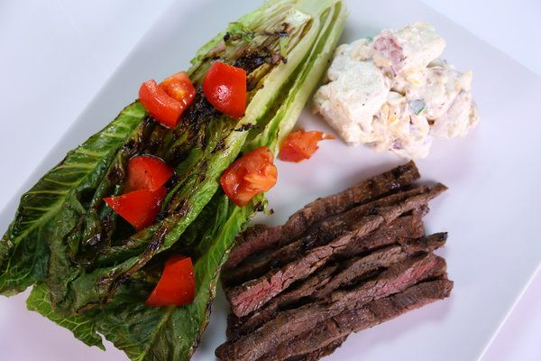 the chew - skirt steak and loaded potato salad with grilled romaine ...