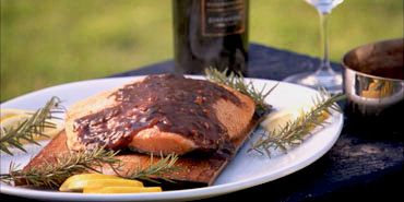 Cedar Planked Salmon with Blueberry-Zinfandel Sauce