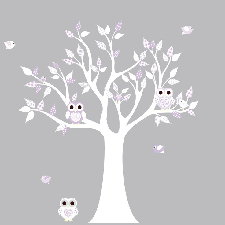 Wall Sticker Tree White : Vinyl Wall Decal Stickers White Lilac Owl Tree  Set Nursery Girls Part 83