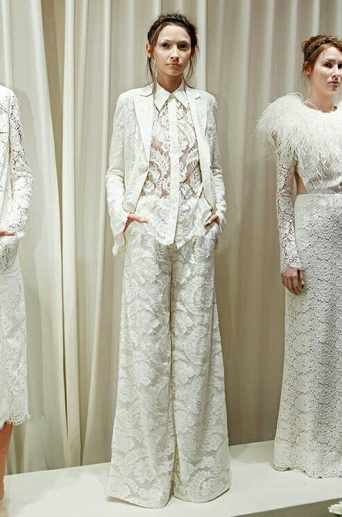 Lace bridal pant suit wedding gowns pant suit pinterest for Wedding dress pant suits