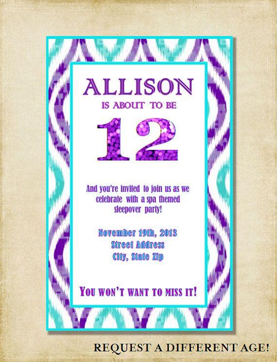 Girl birthday party invitation purple amp aqua sleepover party 6th 7t
