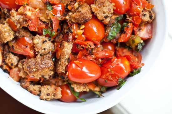 Basil Scalloped Tomatoes and Croutons | via Oh She Glows - Angela says ...