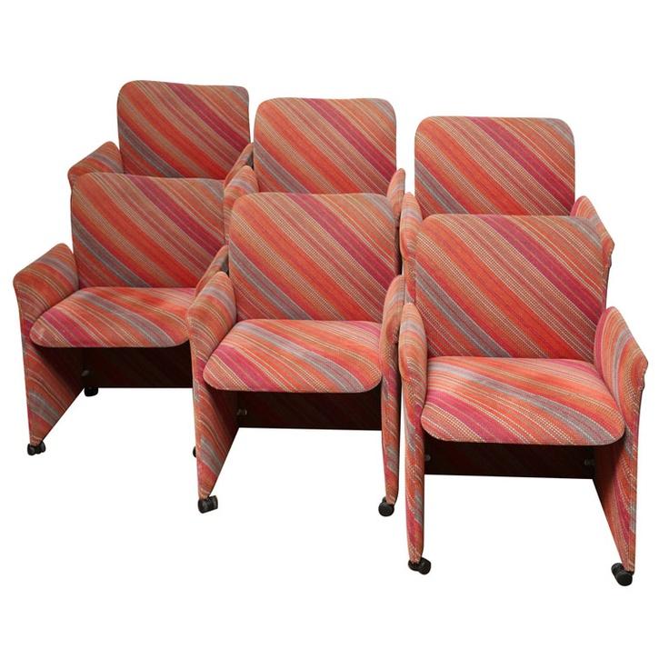 Set Of Six Saporiti Dining Chairs