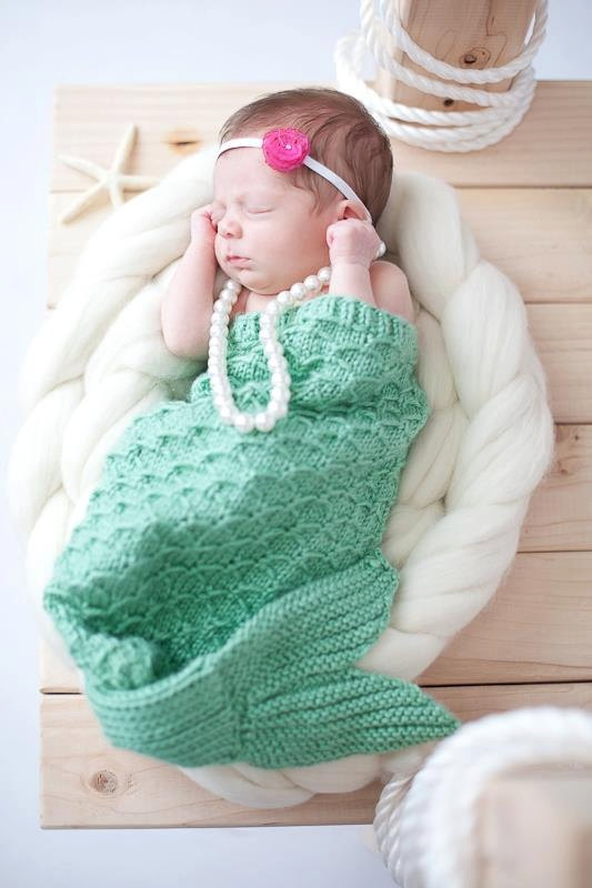 Knitted Mermaid Tail Pattern : Knit Mermaid Tail Cocoon Photography Prop - Made to Order