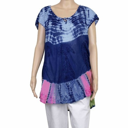 Summer Clothing For Women Tops Rayon Tie And Dye Loose Fit Embroidered