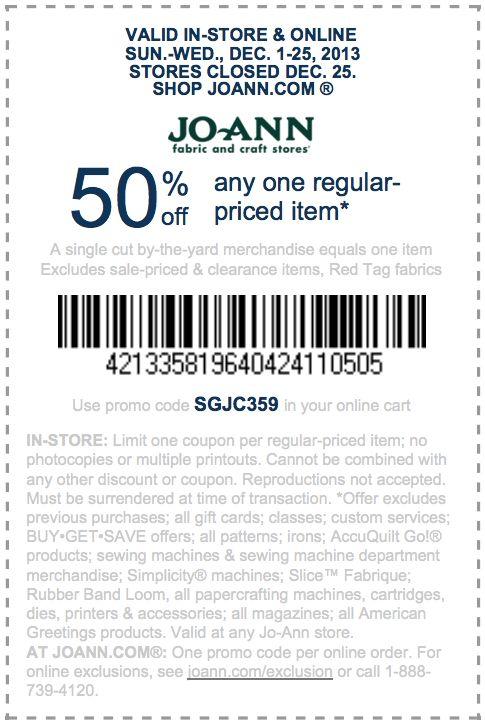 Joann fabrics coupon printable 2018