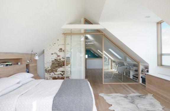 slanted ceiling bedroom minimalist loft with sloping ceilings in san