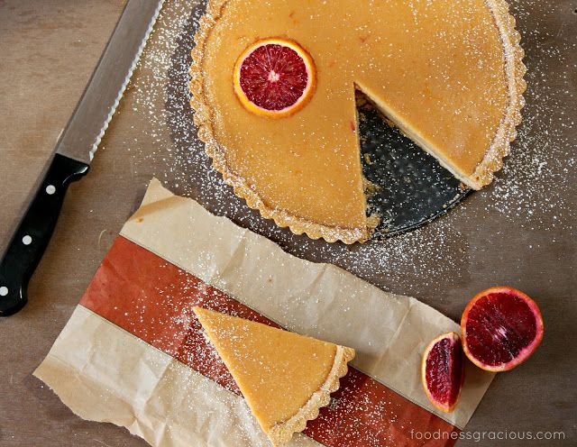 Blood Orange Curd Tart with Rosemary Butter Crust | Foodness Gracious